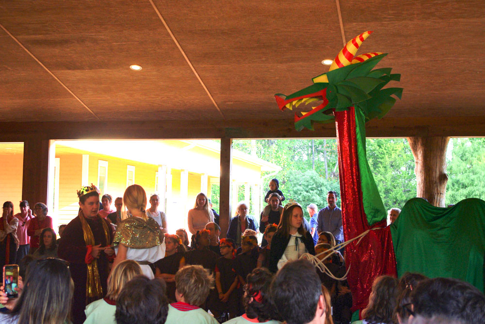 a scene from the michaelmas pageant in 2019 at Charlottesville Waldorf School